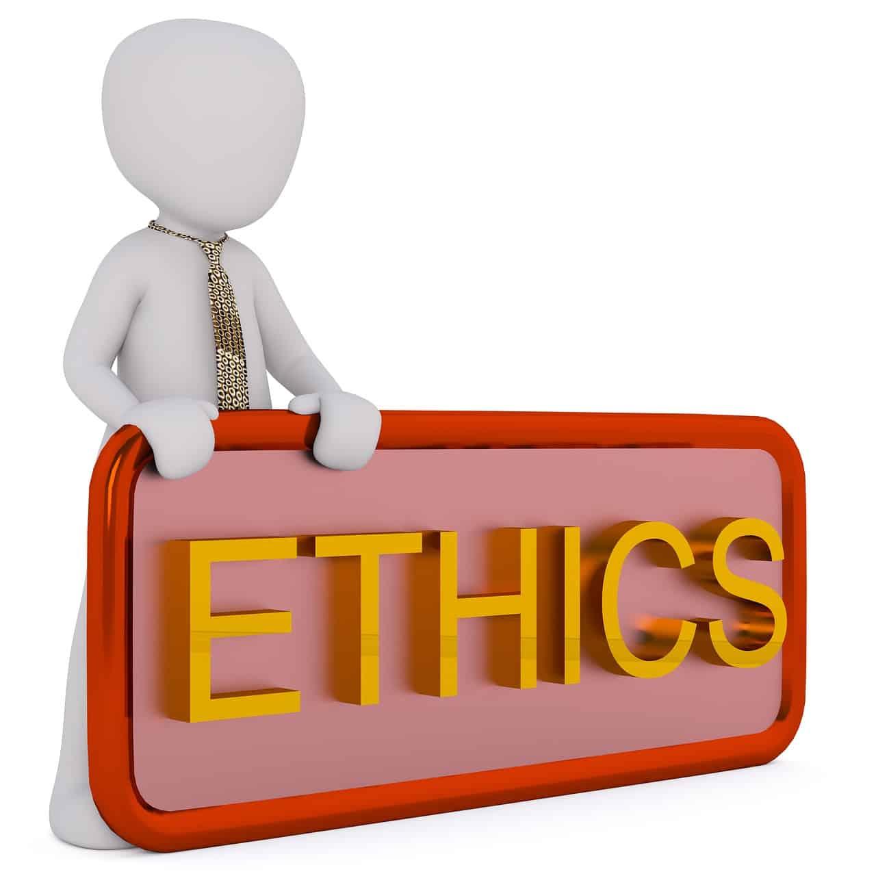 דמות מצוירת אוחזת שלט שרשום עליו באנגלית ethics