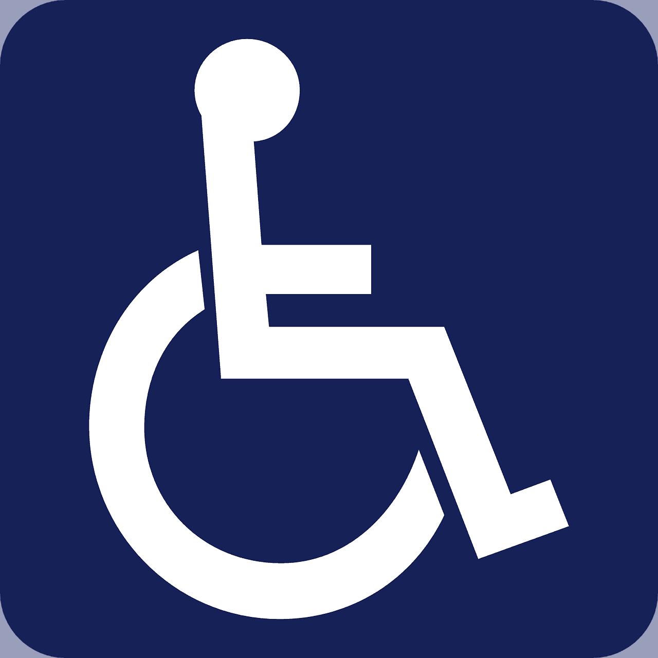 איור של סימון מקום לנכים. איש על כיסא גלגלים