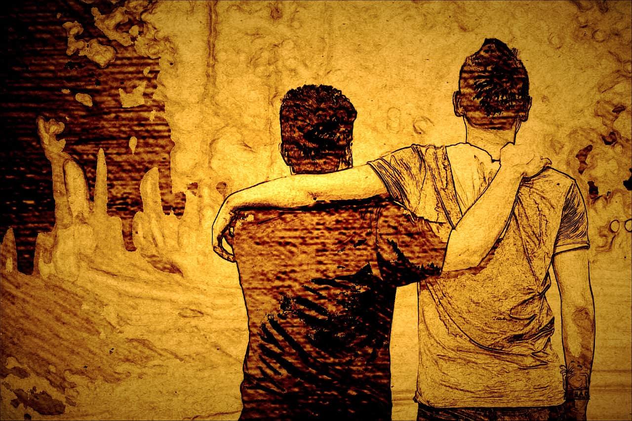 ציור של שני חברים מחבקים זה את זה מהצד כשהם עם הגב למתבונן