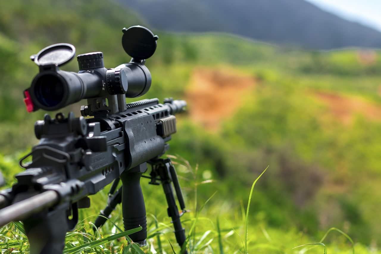 רובה ציידים מול נוף פתוח