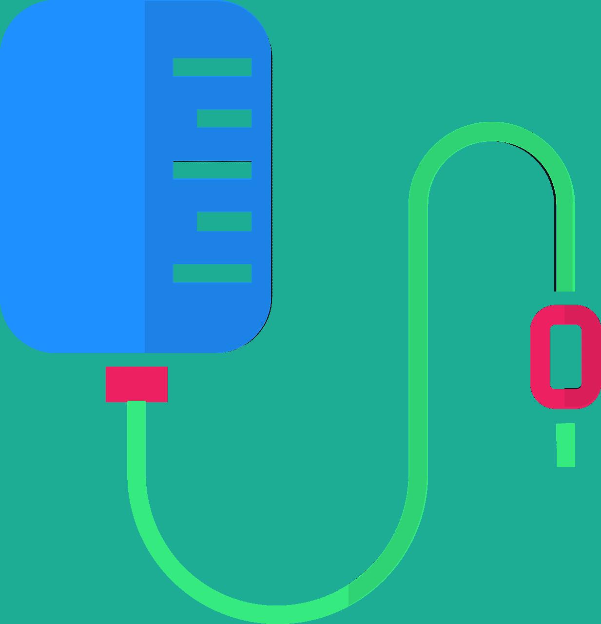 ציור של שקית אינפוזיה עם צינור