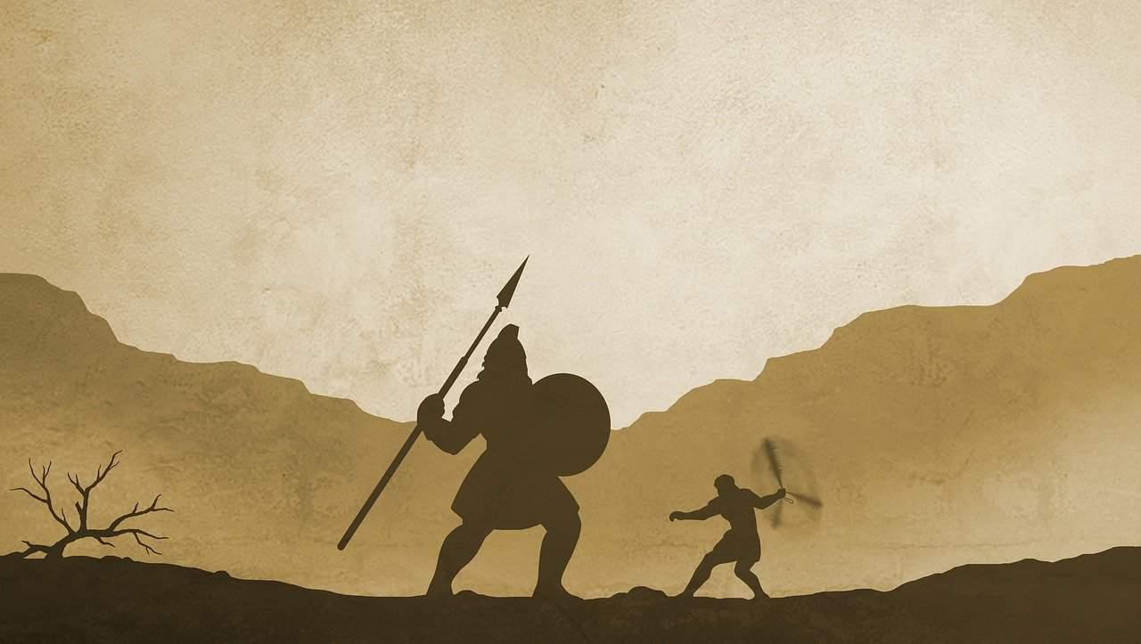 ציור של דוד המלך נלחם בגוליית